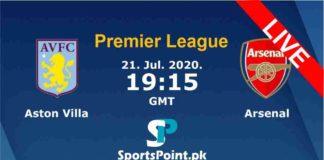Aston villa vs Arsenal live streaming 22-7-20