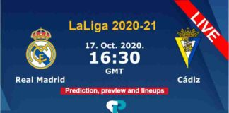 Real Madrid vs Cadiz live streaming 17-10-20